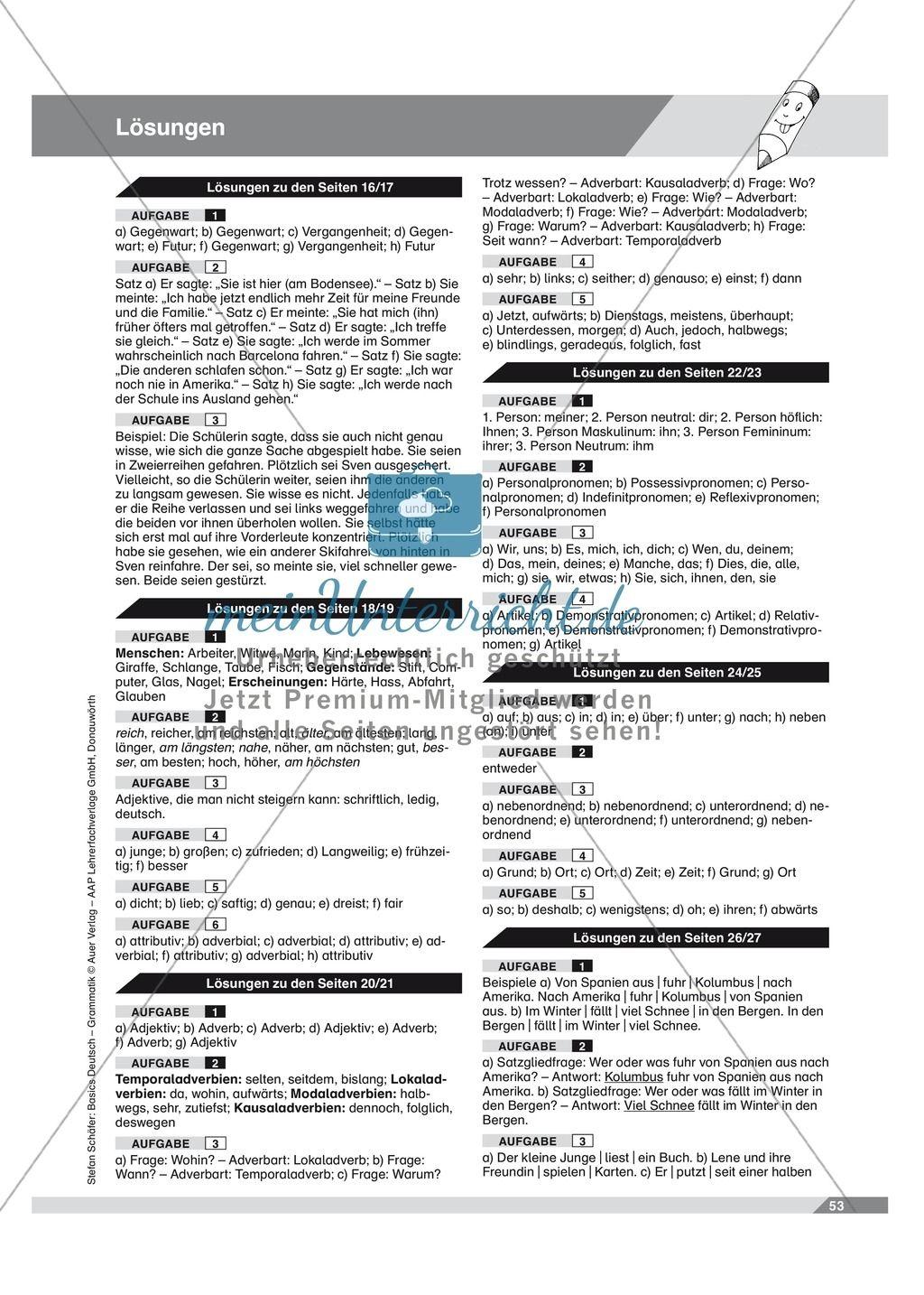 20 Arbeitsblatter Deutsch Grammatik