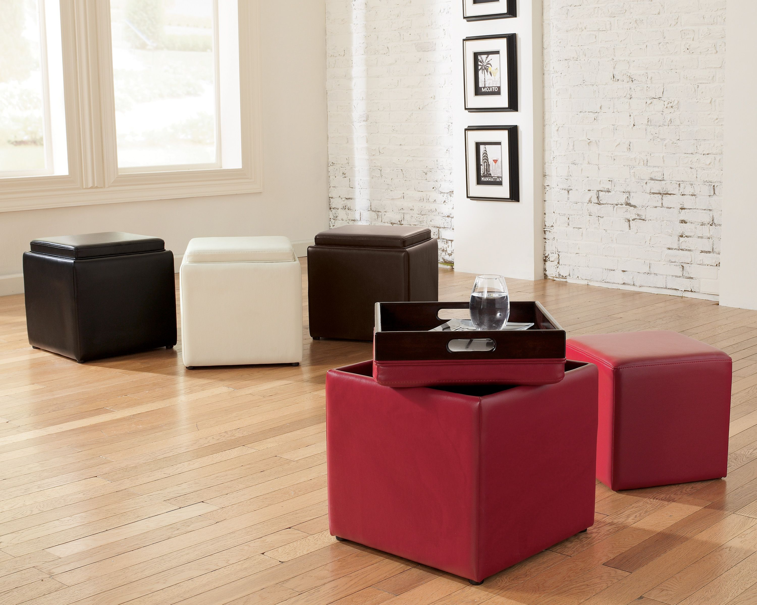 Ashley Furniture's cubit comes in various colors such as scarlet, ivory, and chocolate. Great pieces of furniture that can store your belongings.