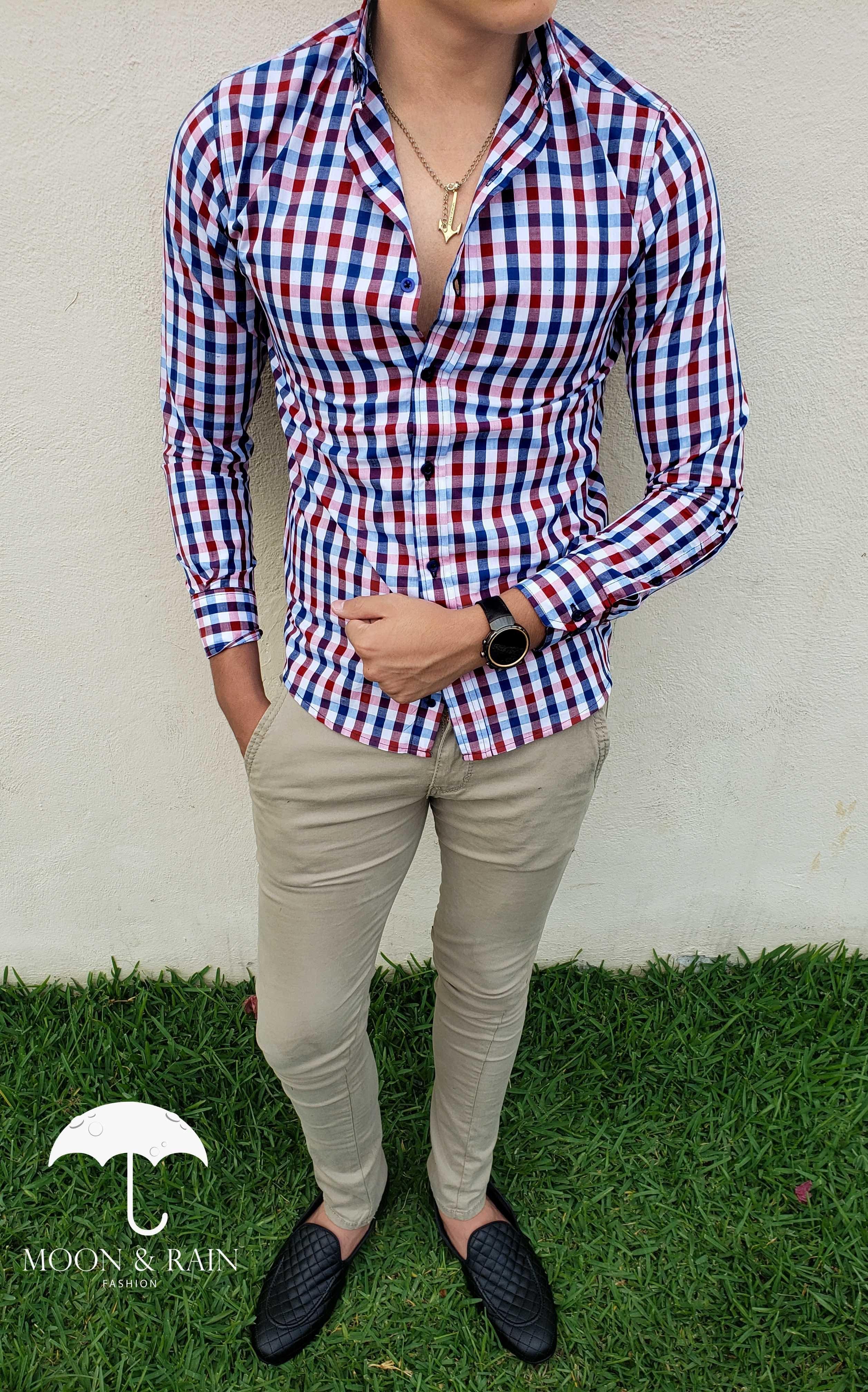 Camisa Slim Fit De Cuadros Para Hombre Azul Marino Y Rojo Pantalon Skinny De Gabardina Beige Vestimenta Casual Hombres Moda Ropa Hombre Ropa Casual Hombres