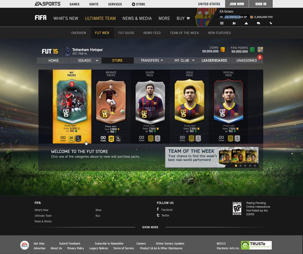 FIFA 15 ULTIMATE TEAM WEB APP jss Ea fifa