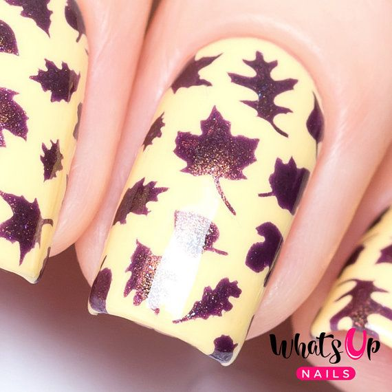 Leaves Stencils For Nails Autumn Fall Thanksgiving Nail Stickers