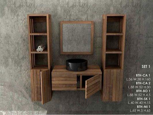Mobili bagno in legno massello lavandini pietra e marmo - Mobile bagno teak ...