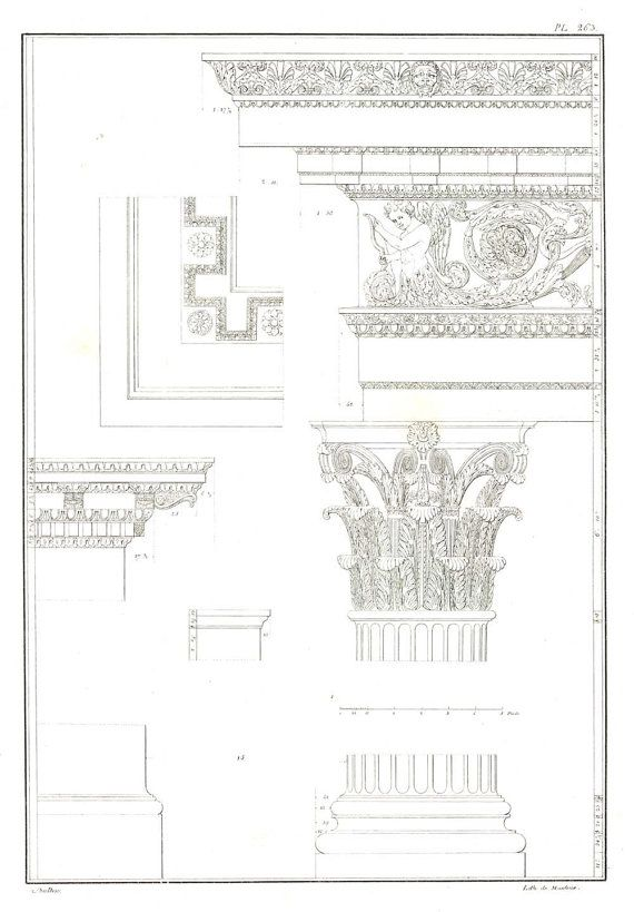 1842 Architectural Print Temple of Jupiter, Roman