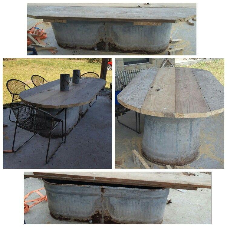 Water Trough Storage Table Barn Wood Crafts Decor