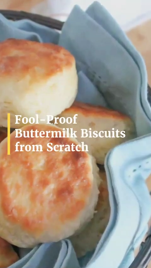 Step by step directions for making fool-proof light, flaky, buttery Buttermilk Biscuits from scratch. No baking mixes or canned biscuits required. Only 6 ingredients!  #biscuitsandgravy #homemadebiscuits