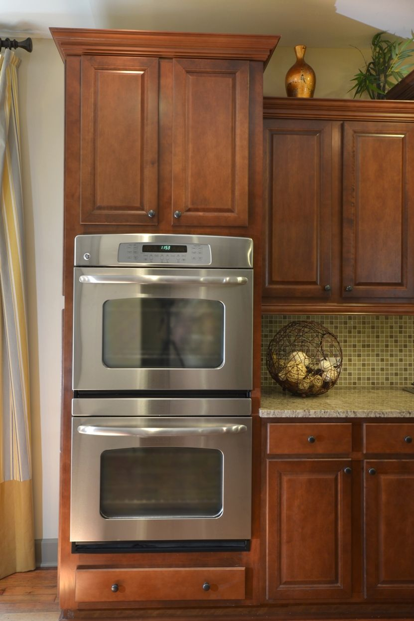 Hickory double wall oven structural options pinterest for Double kitchen cabinets