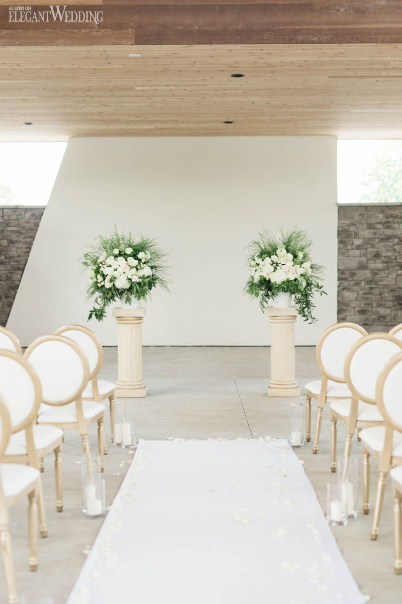 Green and White Wedding Ceremony Flowers, Altar Flower Arrangements ...