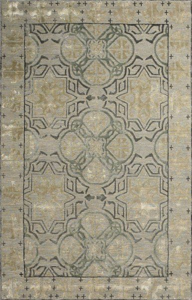 new moon rug - capistrano, stone/teal. this classical structured