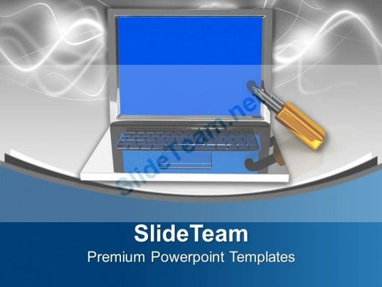 laptop with lock information security powerpoint templates ppt, Powerpoint templates
