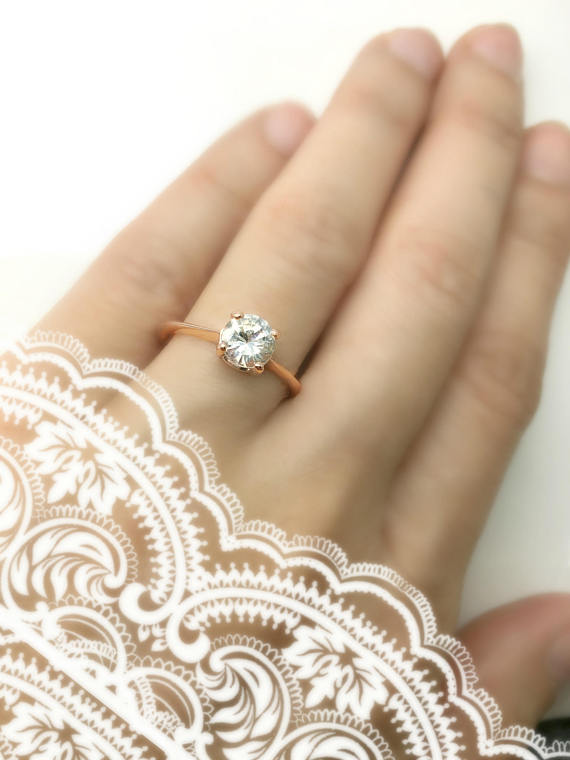 Solitaire 14k Rose Gold Engagement Ring White Sapphire Ring Etsy Solitaire Engagement Ring Rose Gold Rose Gold Engagement Ring Rose Gold Engagement Ring Set