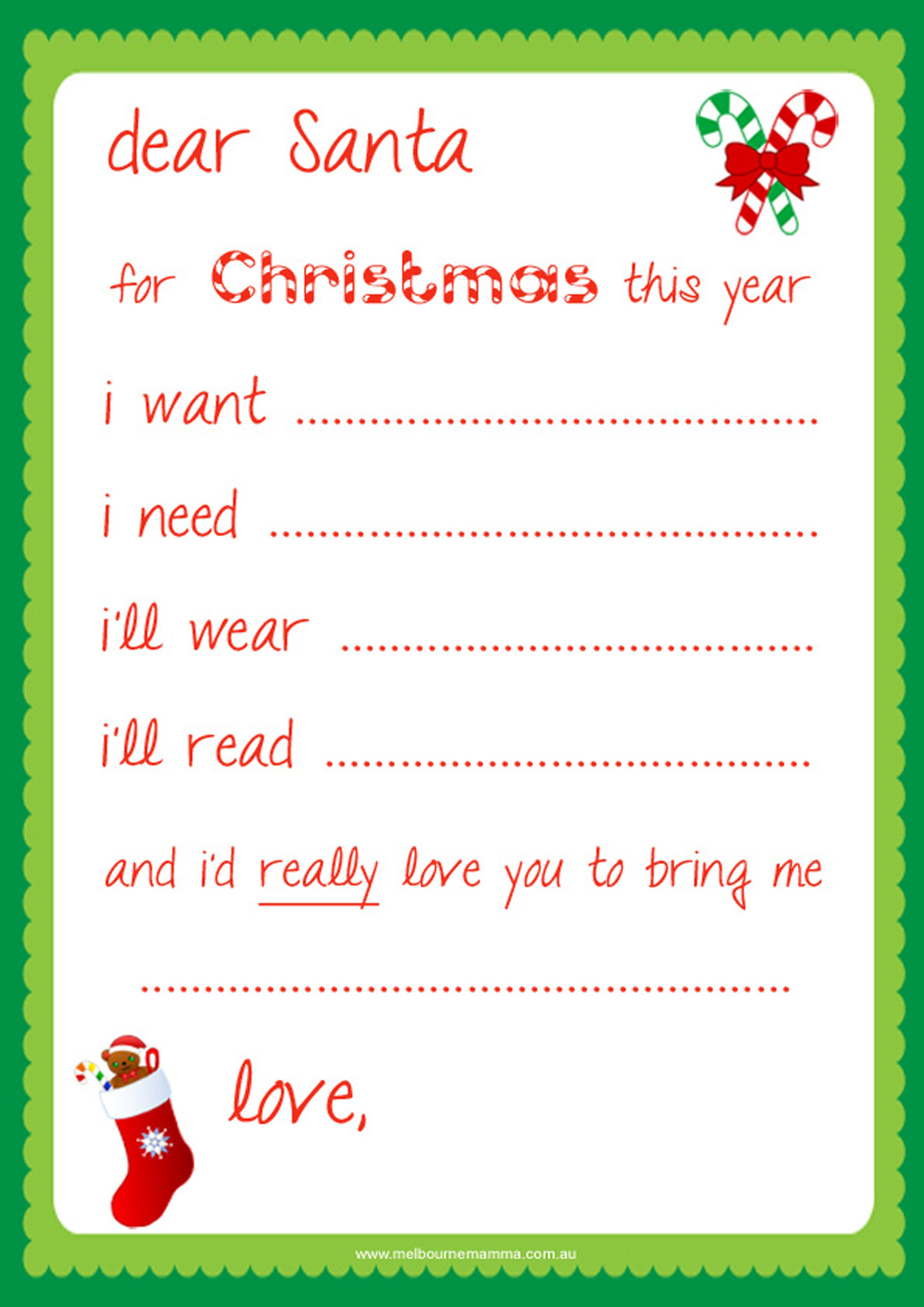 Free Dear Santa Printable Santa Letter This might help
