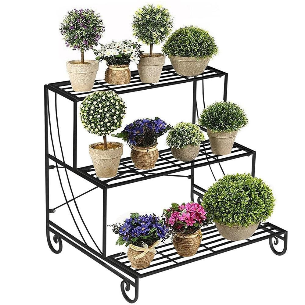 Yaheetech 3 Tier Stair Style Metal Plant Stand Patio Iron Plant Rack Outdoor Indoor Garden Shelf For La Plant Stand Tiered Plant Stand Indoor Metal Plant Stand