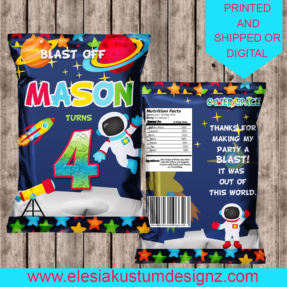 Little Space Two the Moon Chip Bags  Personalized Party Favors Astronaut Decor Printable