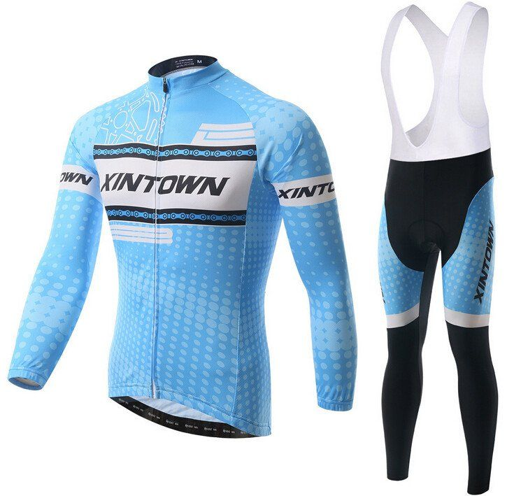 eaf4c7adb Blue XINTOWN Long Sleeve Cycling Jersey Set