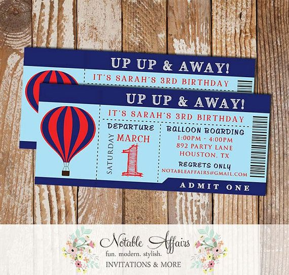 Up Up \ Away Hot Air Balloon Boy Birthday Party Ticket Invitation - airplane ticket invitations