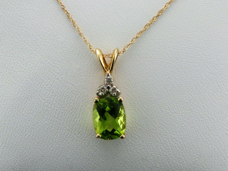 Peridot Pendant with Chain - the Birthstone for August, available at John Wallick Jewelers, in Sun City, Arizona, near Phoenix, AZ