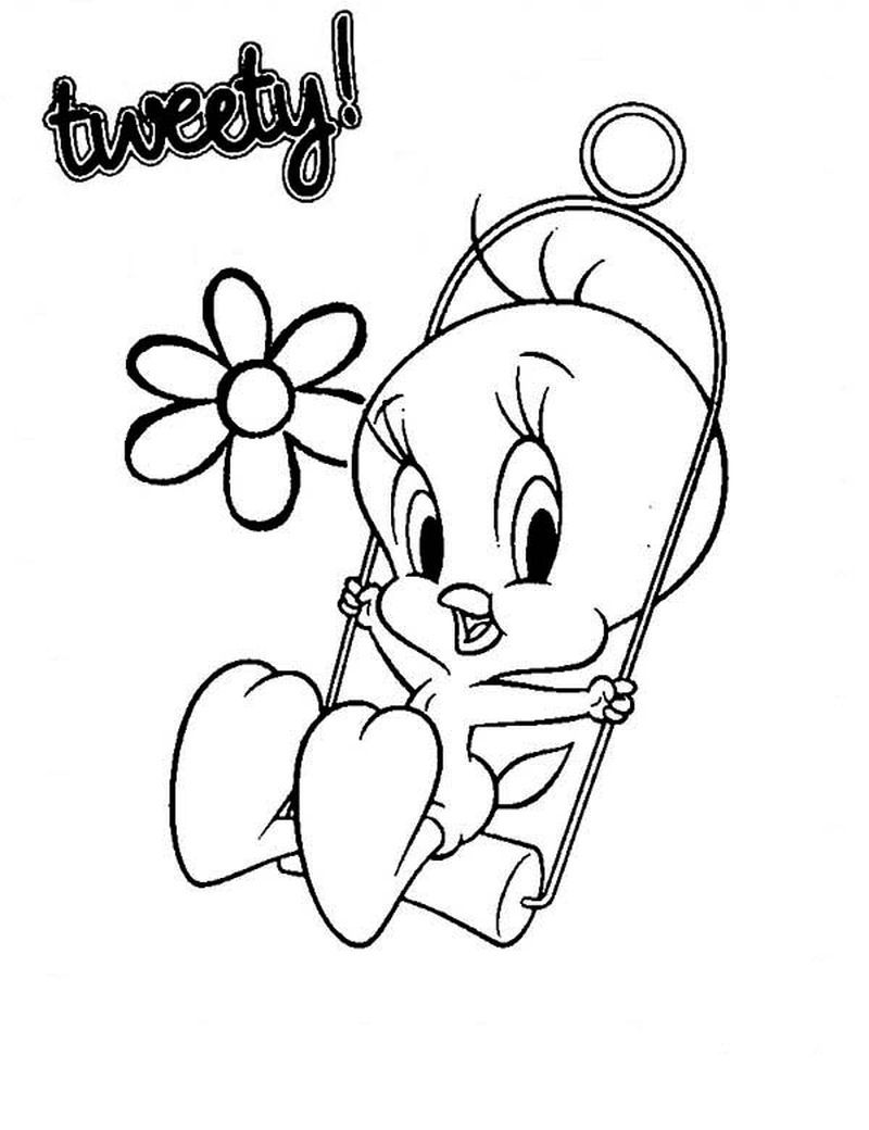 Tweety Bird Coloring Pages To Print In 2020 Tweety Bird Drawing Bird Coloring Pages Baby Looney Tunes