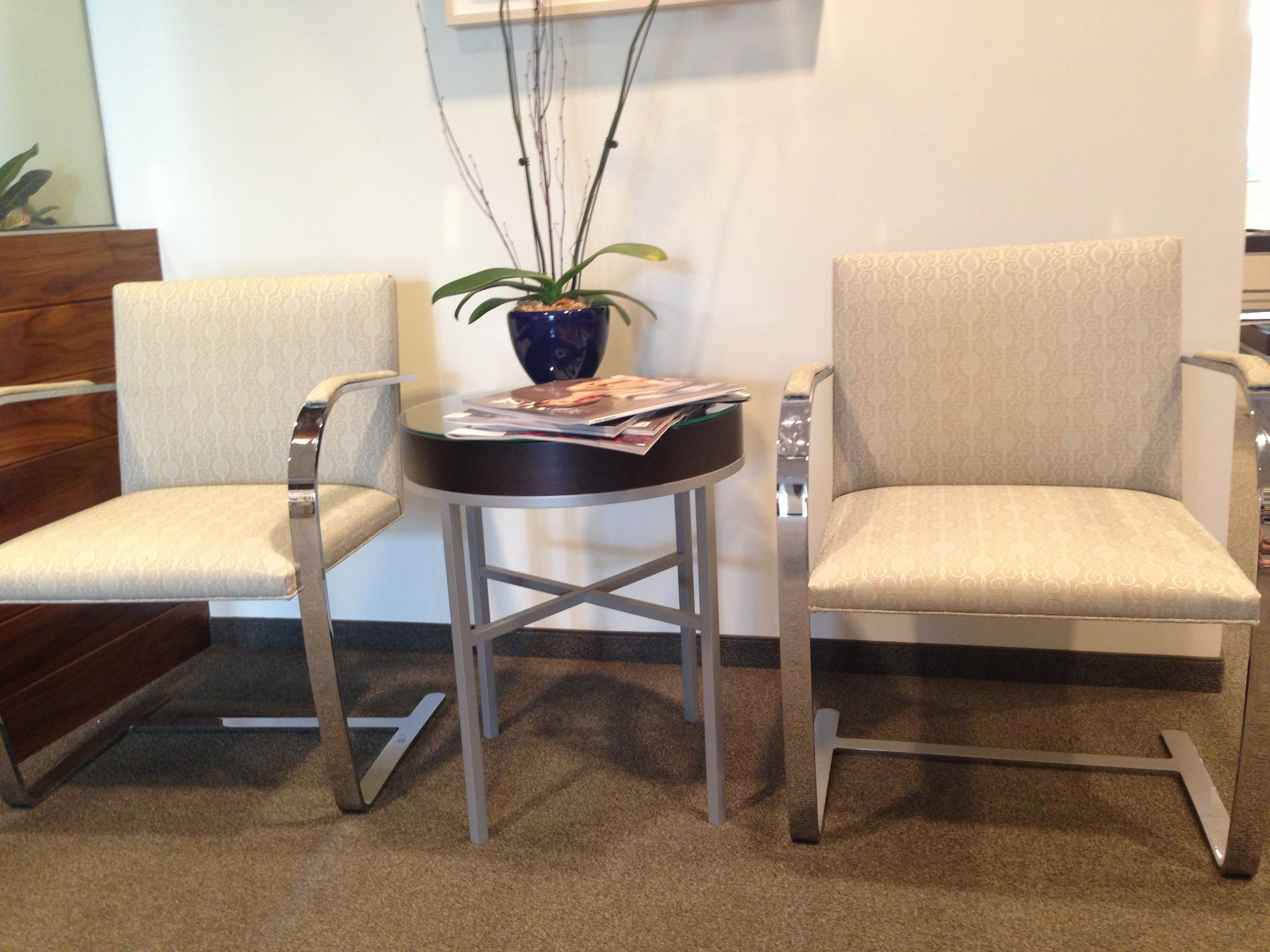 office reception. Office Reception - Spray Paint Old Chairs Glossy Silver.
