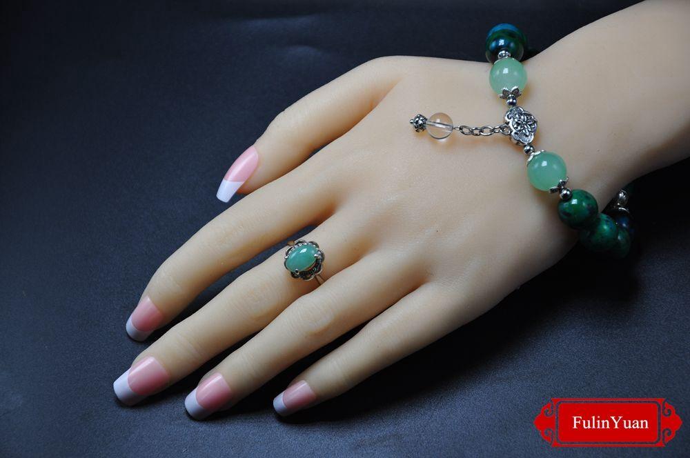black sandalwood bead chrysocolla silver crystal bracelet chrysoprase longevity lock