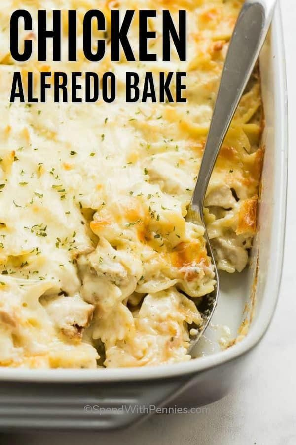Photo of This Chicken Alfredo Bake is made with pasta, homemade Alfre…
