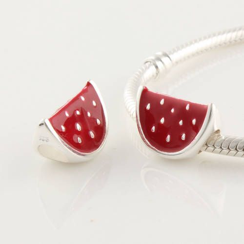 8642e11eb CLDY074 925 Sterling Silver Red Enamel Watermelon Pandora Charms beads on  sale,for Cheap,wholesale