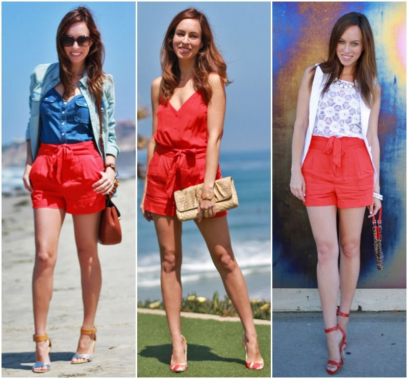 Sydne Style red shorts Bebe tie front shorts how to wear the trend ...