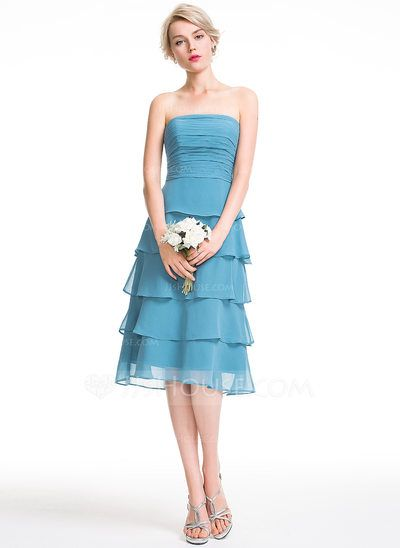 US$ 123.00 A-Line/Princess Strapless Knee-Length Chiffon ...