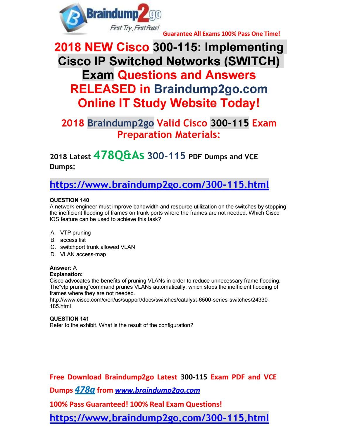 2018-January-Version]Braindump2go 300-115 Dumps with PDF and VCE ...