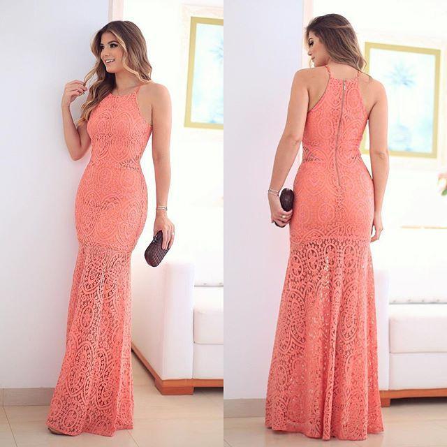 d0ac62b40a  Peach  Vestido  store dot em uma das cores mais linda! Todo de renda com  caimento perfeito 😍😍