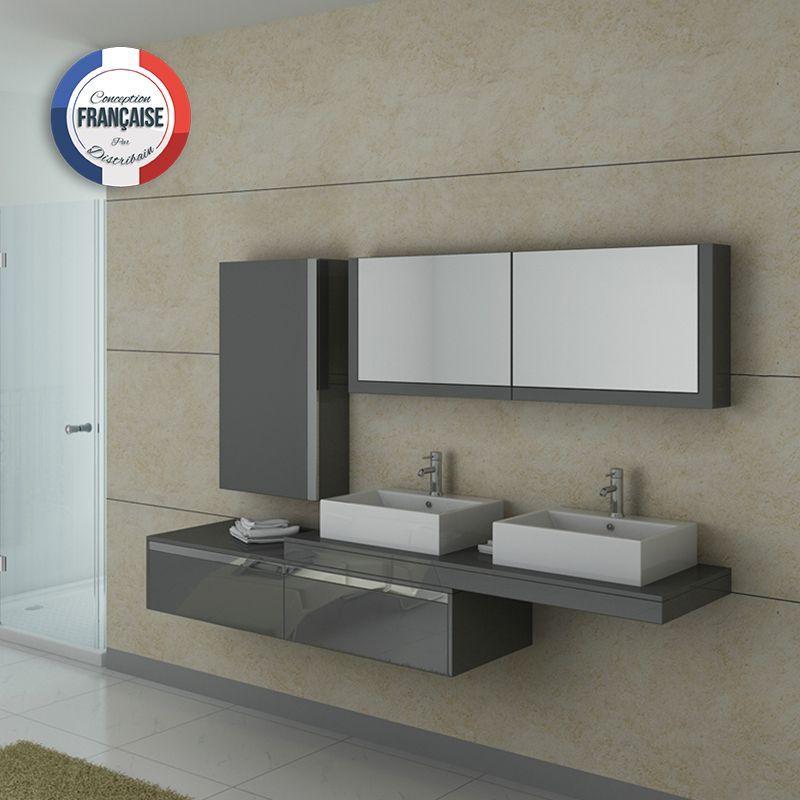 DIS9551GT Meuble salle de bain gris taupe Salle de bains gris