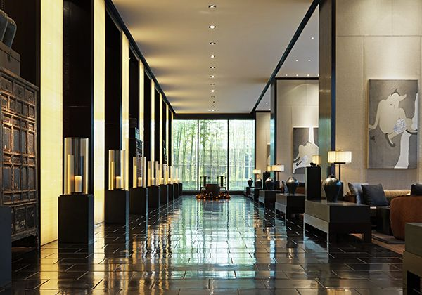 The Puli, Shanghai. Created as China's first urban resort, this stylish hotel is  located in Shanghai's Jing'An district. The striking interiors—all polished tile floors, sumptuous silk wall coverings and contemporary furniture—are accented by reproductions of ancient Chinese household items.