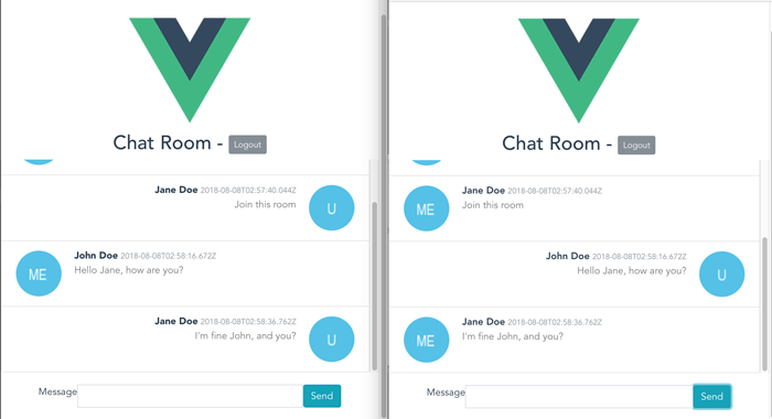 MongoDB, Express, Vue js 2, Node js (MEVN) and SocketIO Chat