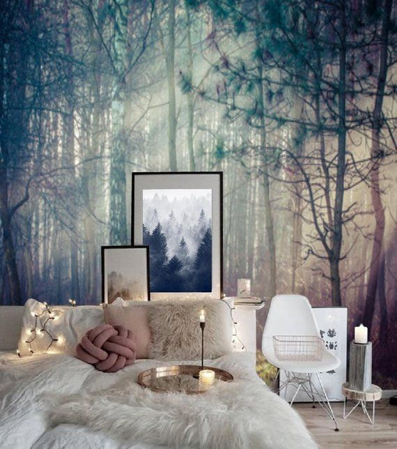 Peel and Stick Wall Paper Boho Misty Forest, Wallpaper Wall Mural Removable Wallpaper, Peel & Stick Mural Pine Tree Wallpaper Nature #103