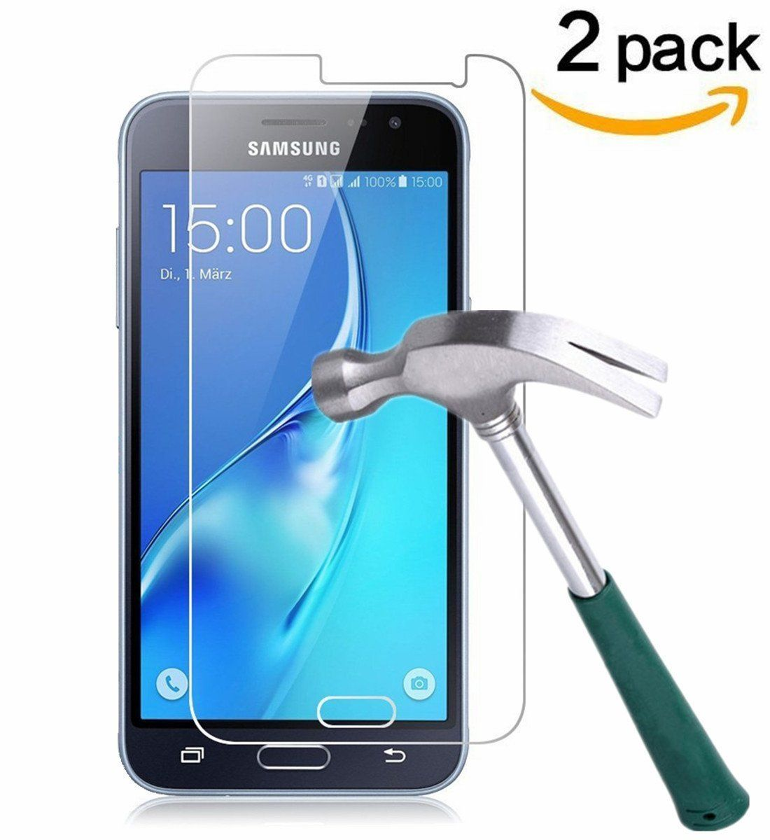 TANTEK Anti-Scratch Tempered Glass Screen Protector for Samsung Galaxy J3 - 2 Pack