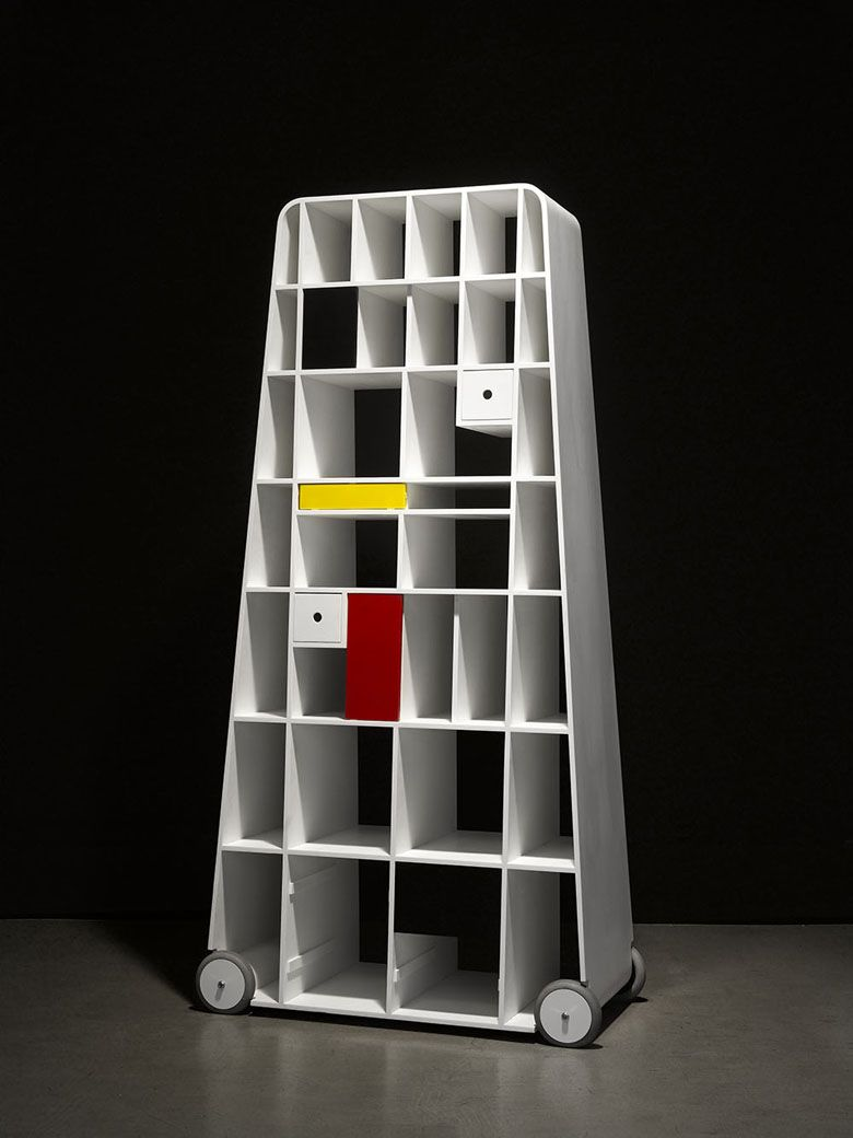wheels ' designed on Moving Corian by bookcase Mondrian 8OvwN0nm