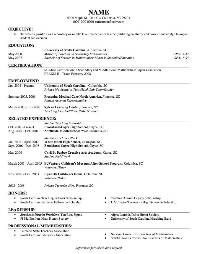 Example Of Student Practicum Work Resume Http Exampleresumecv