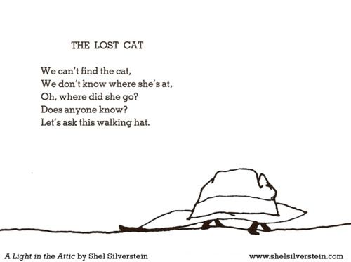 The Lost Cat, by Shel Silverstein (from 'A Light in the Attic')
