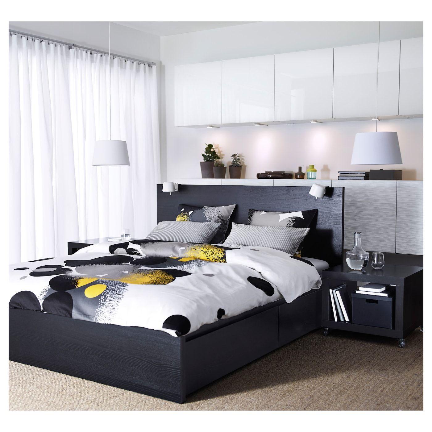 Malm Bettgestell Hoch Mit 2 Schubkasten Schwarzbraun Leirsund Ikea Schweiz Malm Bett Ikea Bett Verstellbare Betten