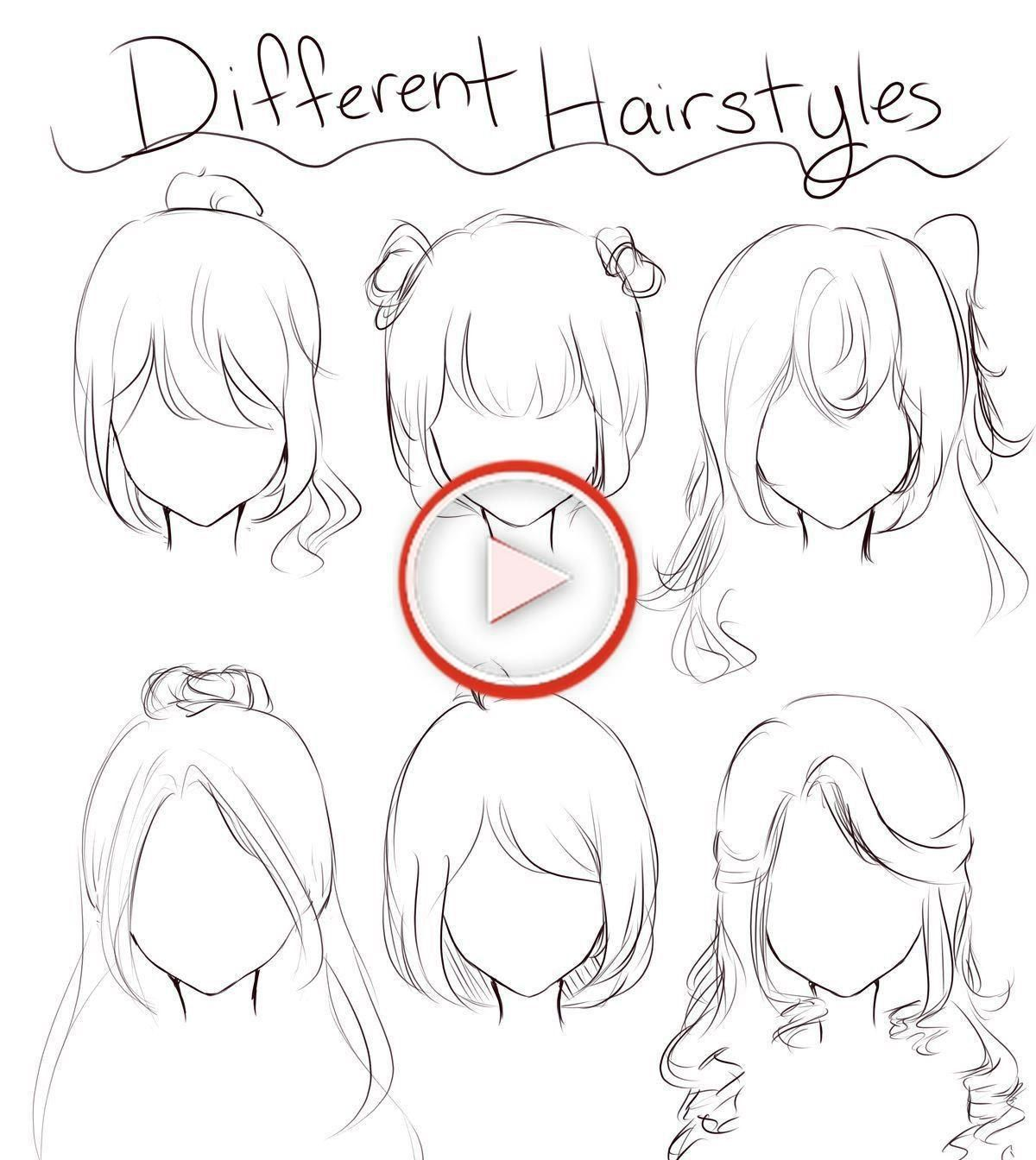 Anime Female Hairstyle Reference Hairstyle Anime Female In 2020 Anime Drawings Sketches Anime Drawings Tutorials Hair Sketch