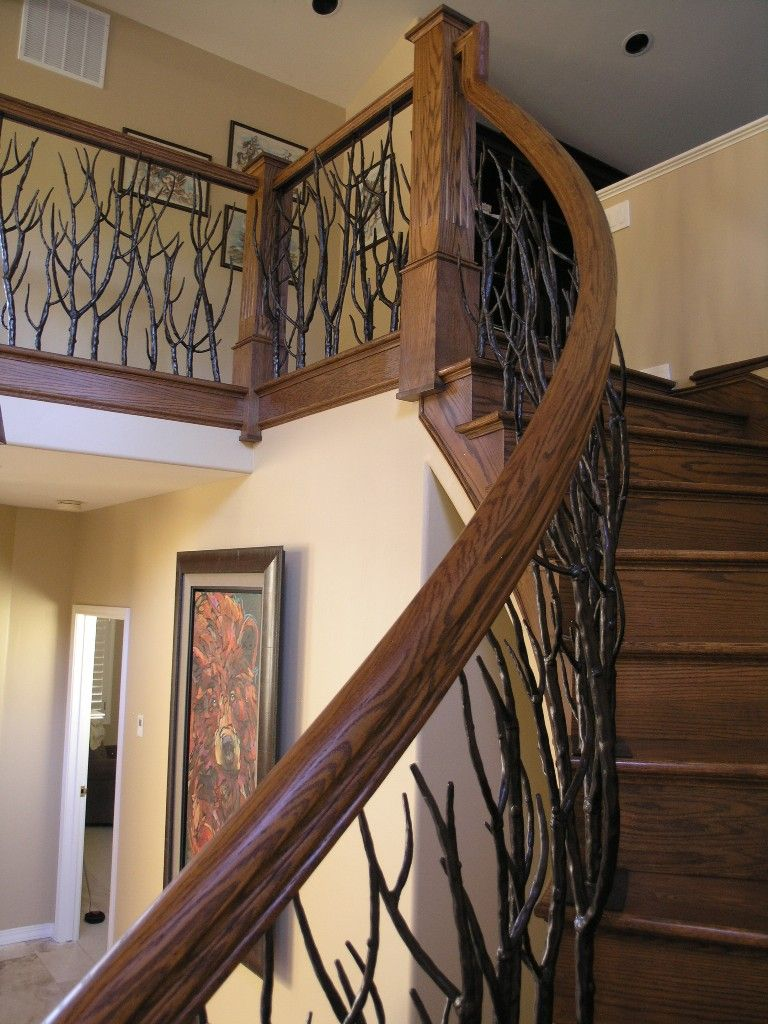 Best Branch Iron Wood Stair Railing Google Search Wood 400 x 300