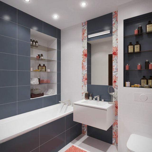 Ideen Badezimmer Ohne Fenster Graue Fliesen Regale Wand Nischen