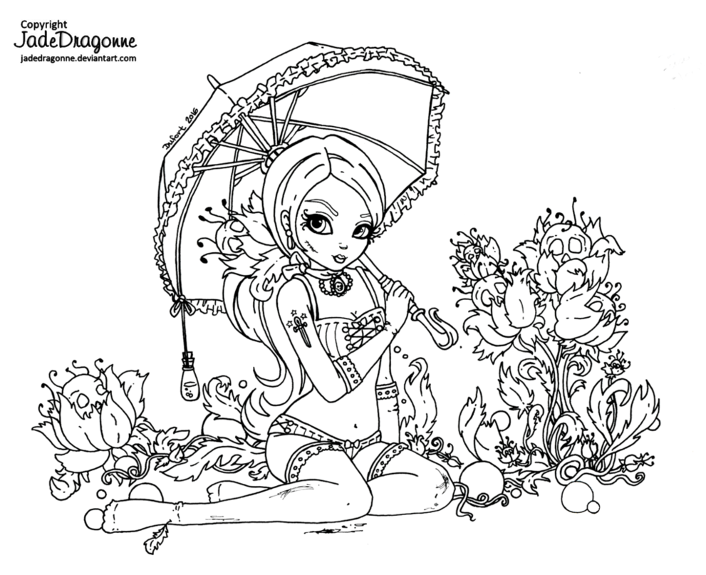 Vintage gothic pinup Lineart by JadeDragonneviantart on DeviantArt ColoriagesColoration
