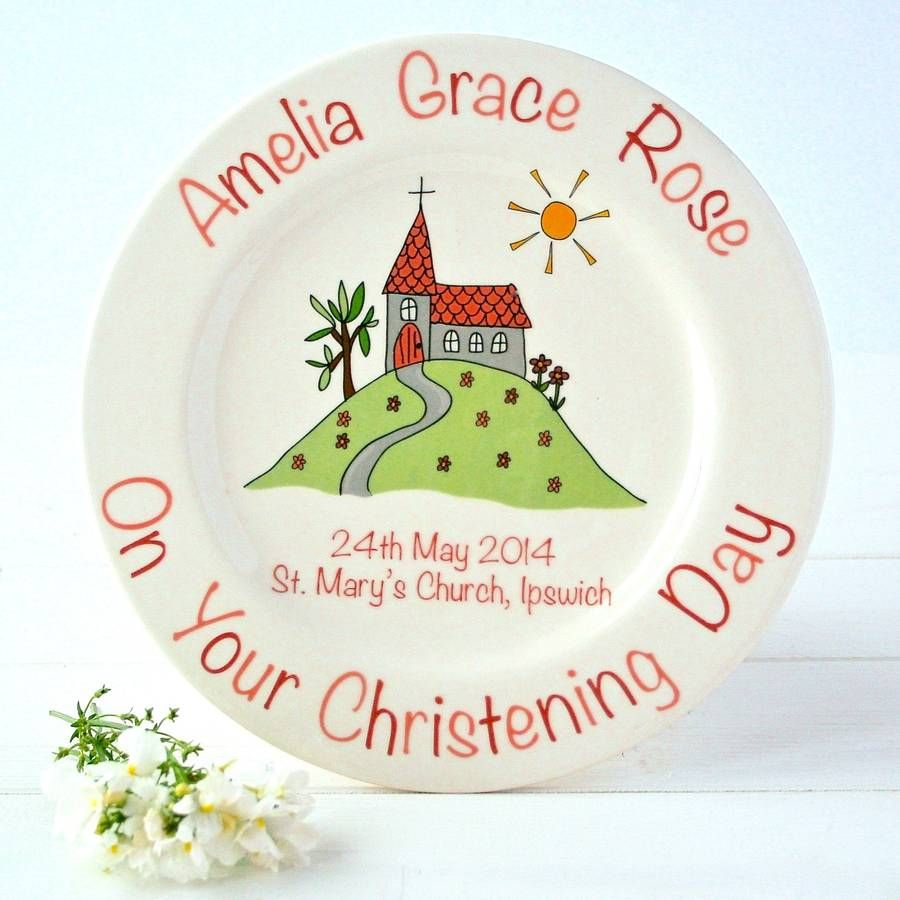 Personalised Christening Plate   Christening, Pottery painting ideas ...