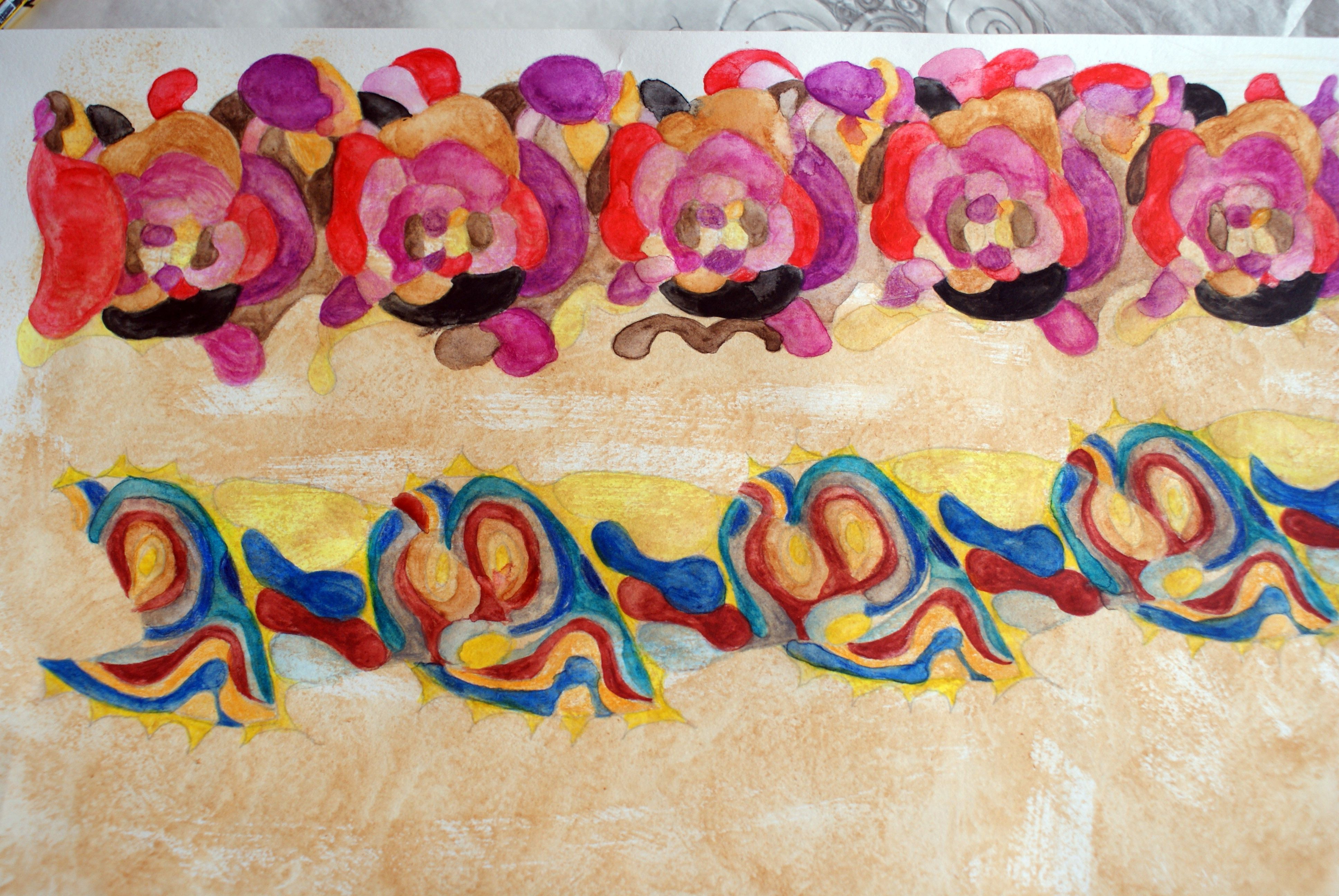 Designs for a textile border. Water soluble pencil and acrylic on paper. By Kirsty Basram