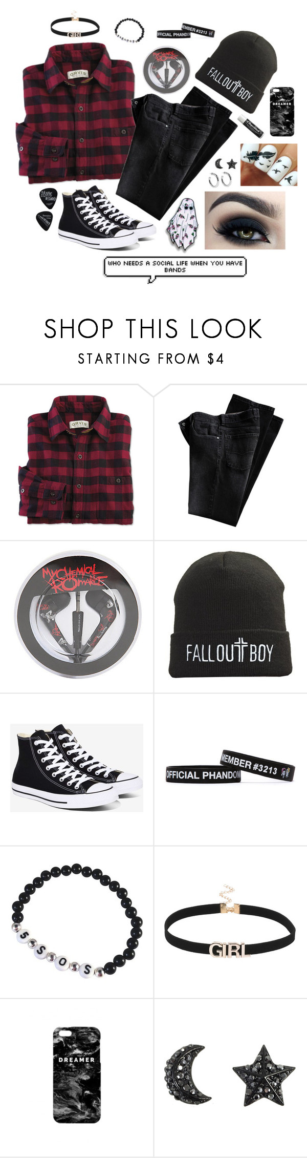 """""""Bands ✌️"""" by lilscreaminbeans ❤ liked on Polyvore featuring Converse, Too Faced Cosmetics, Mr. Gugu & Miss Go, Sophie Buhai and Chapstick"""