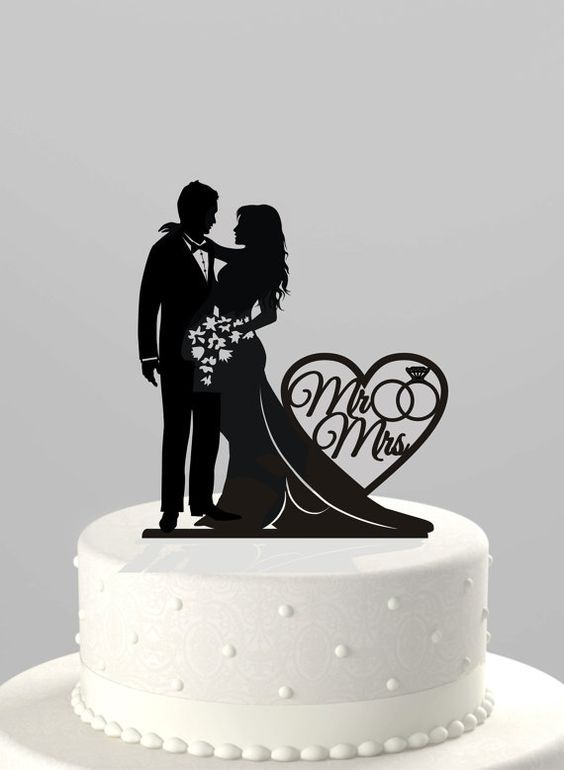 Wedding Cake Topper Silhouette Bride And Groom Your Choice Mr