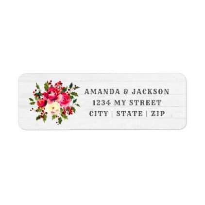 Rustic Winter Holly Floral Wedding Return Address Label Return