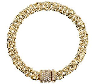 Spark joy on your wrist with this Byzantine chain bracelet. The clasp is decorated with cubic zirconia Diamonique simulated diamonds for a bit of extra pizzazz. From Arte d'Argento® Sterling Silver Jewelry.