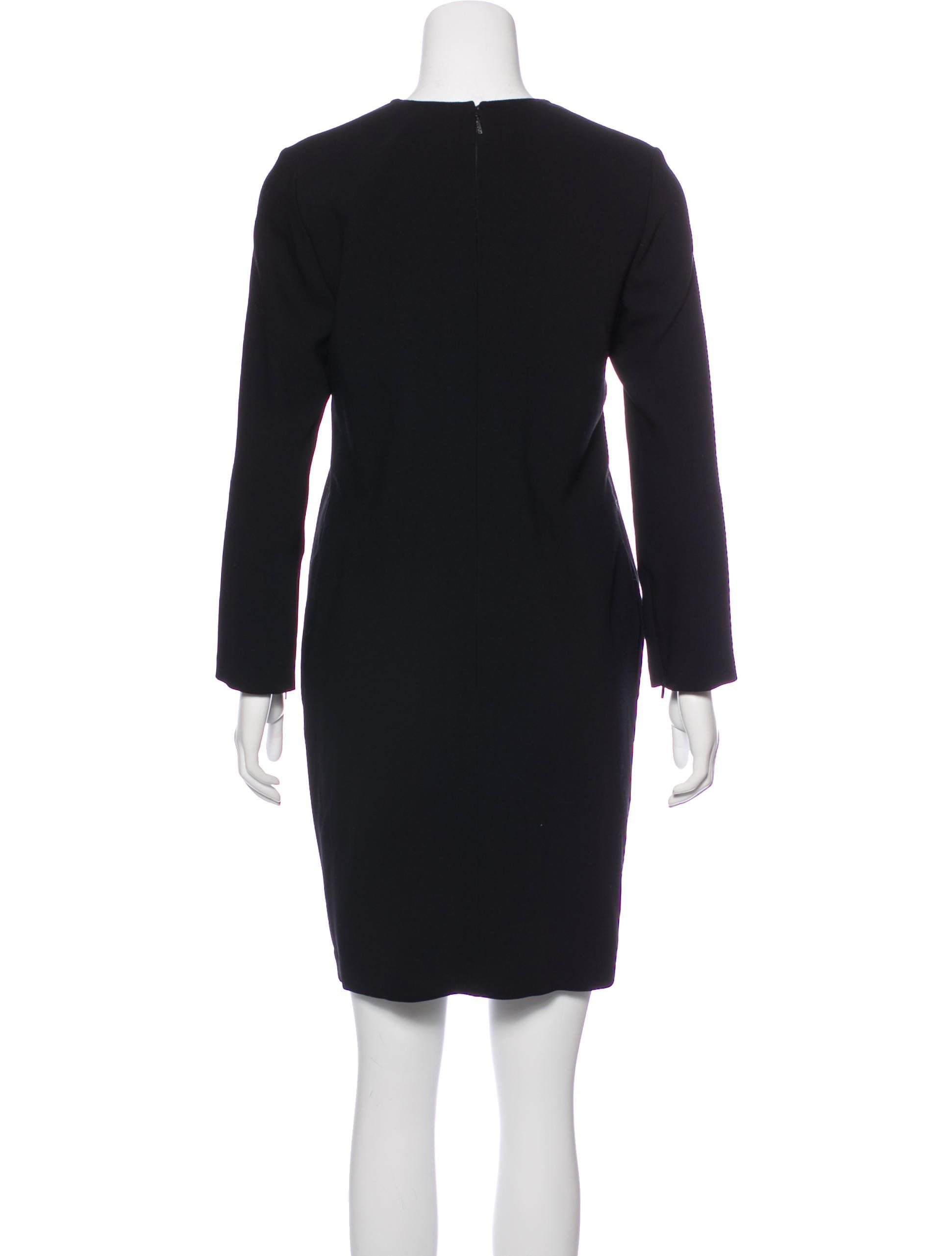 Black gucci wool mini dress with long sleeves goldtone accents at
