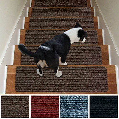 Best Stair Treads Non Slip Carpet Indoor Set Of 13 Brown Carpe 400 x 300